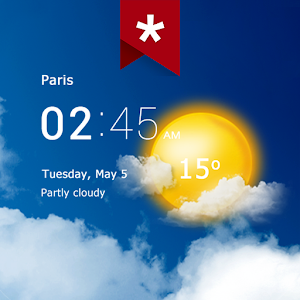 Transparent clock and weather (Ad-free)